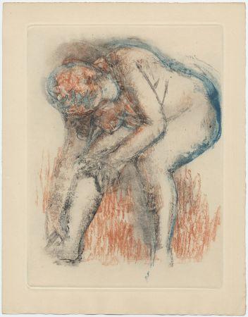 Офорт И Аквитанта Degas - Étude de nu se massant la cheville (vers 1896)