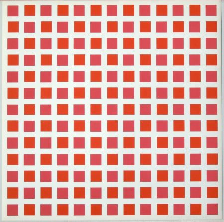 Сериграфия Morellet - 1 carré rouge 1 carré orange