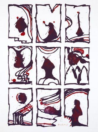 Литография Alechinsky - 3 x 3