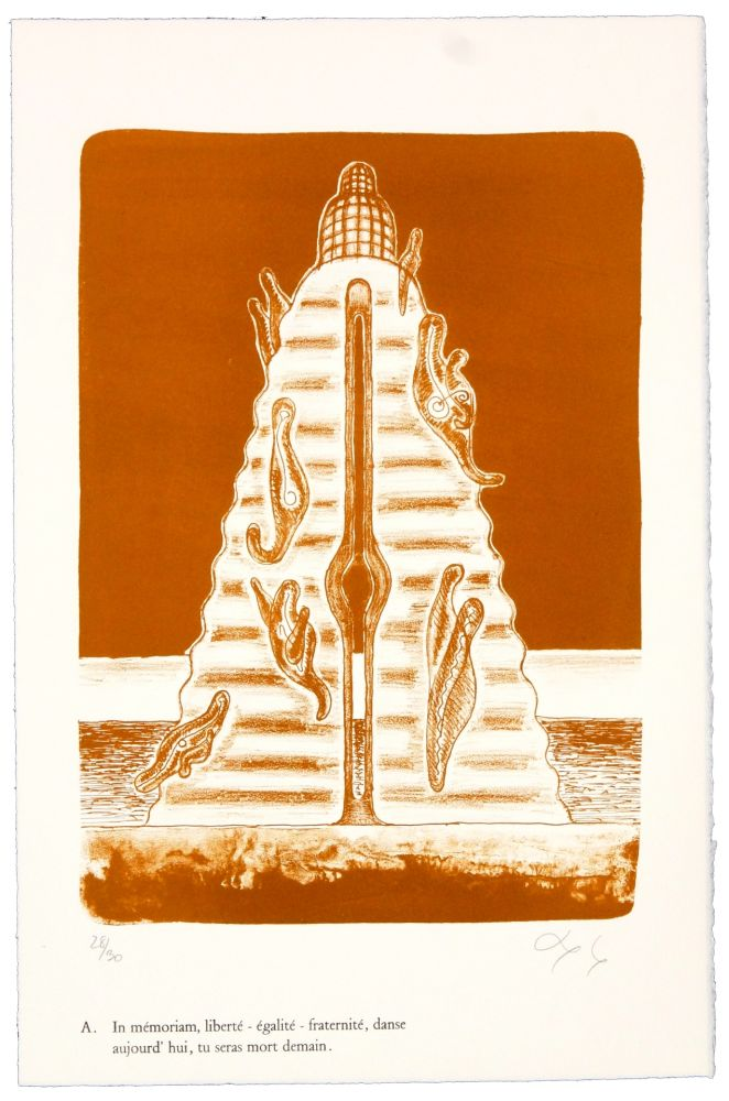 Литография Nørgaard - A. In mémoriam, liberté - égalité - fraternité, danse aujourd'hui, tu seras mort demain.