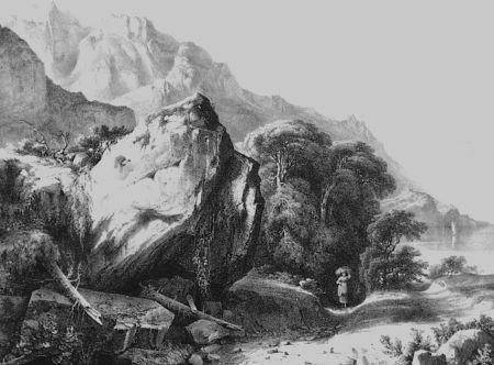 Литография Fontanesi - A Saint-Gingolph (Lac de Genève)