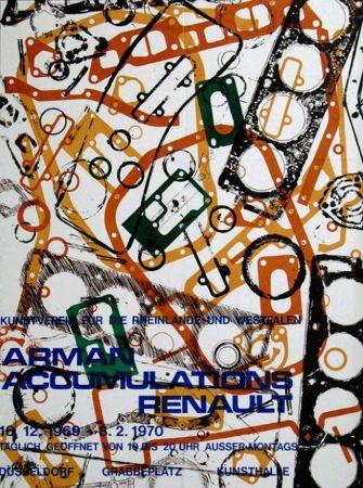 Литография Arman - '' Accumulations Renault ''  -  Dusseldorf