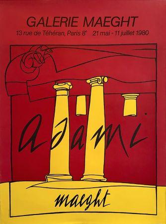 Литография Adami - ADAMI 80 : Affiche en lithographie originale pour l'exposition Galerie Maeght.