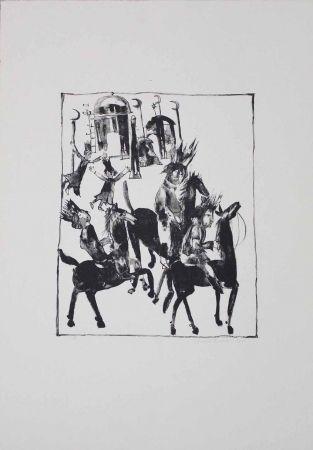 Литография Pyroth - Adschîb, Gharîb und Kâsim machen sich auf den Weg