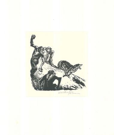Гравюра На Дереве Klemm - Affen jagen den Wolf