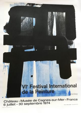 Литография Soulages - Affiche expo 74