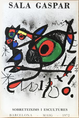 "Литография Miró - Affiche pour l' exposition ""Sobreteixims i escultures"". Sala Gaspar, Barcelona."