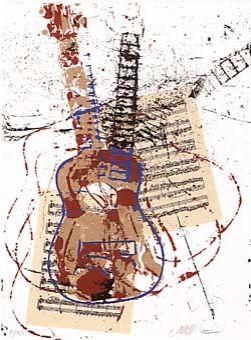 Сериграфия Arman - Allegro pour guitare
