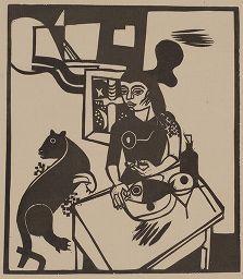 Гравюра На Дереве Campendonk - Am Tisch sitzende Frau mit Katze und Fisch / Woman Sitting at Table with Cat and FIsh