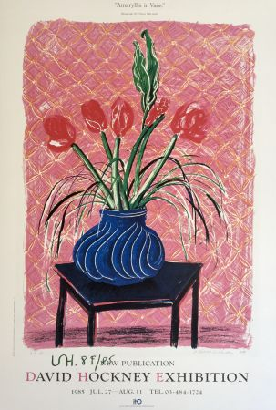 Литография Hockney - 'Amaryllis in Vase' Hand Signed Exhibition Poster 1985