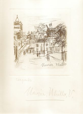 Гравюра Utrillo -  Amitiés de Montmartre