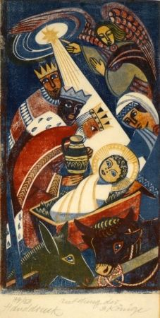 Гравюра На Дереве Tschudi - Anbetung der 3 Könige / Adoration of the Three Kings