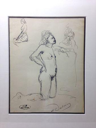 Нет Никаких Технических Derain - André Derain (1880-1954). Etude de nu. Encre sur papier signée.
