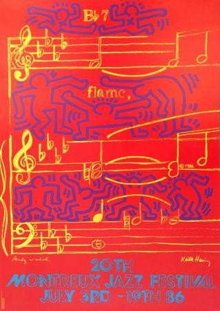 Литография Warhol - Andy Warhol & Keith Haring '20th Montreux Jazz Festival' 1986 Plate Signed Original Pop Art Poster