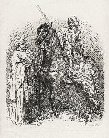 Гравюра Chassériau - Arabe montant en selle / Cavalier arabe partant pour la guerre