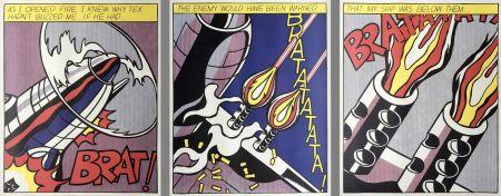 Литография Lichtenstein - As I Opened Fire (Hand Signed) Triptych 3-Piece Set