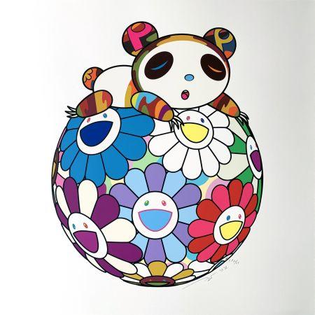Сериграфия Murakami - Atop a Ball of Flowers, A Panda Cub Sleeps