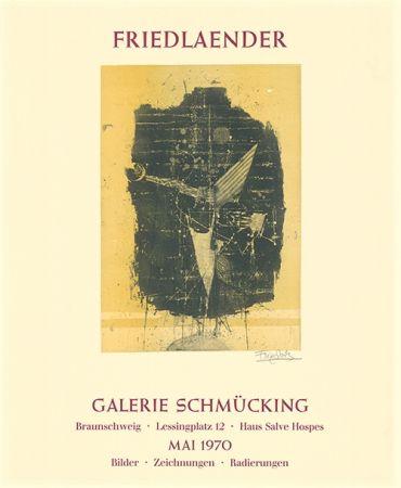 Офорт И Аквитанта Friedlaender - Ausstellungsplakat Galerie Schmücking, Braunschweig, 1970