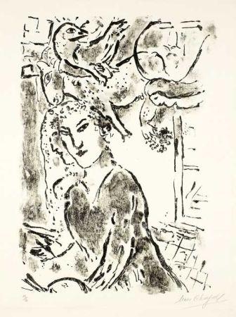 Литография Chagall - Autoportrait à la fenêtre