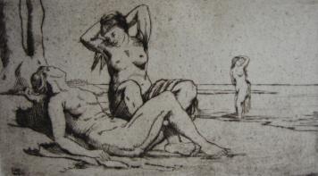 Гравюра Wilm - Badende Frauen / Bathing Women
