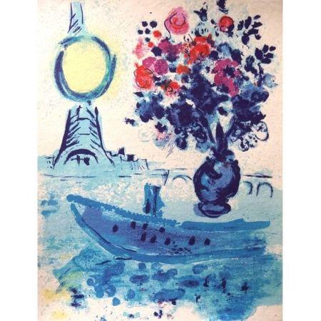 Литография Chagall - Bateau Mouche au bouquet