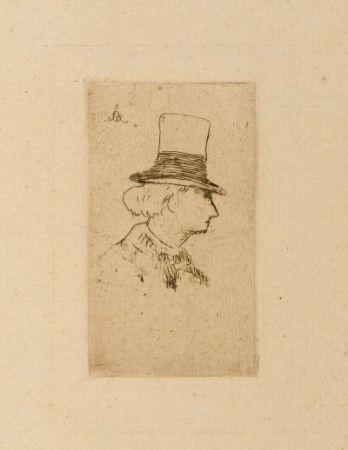Офорт Manet - Baudelaire de profile en chapeau II