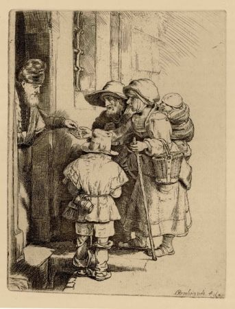 Гравюра Rembrandt - Beggars Receiving Alms at the Door of a House