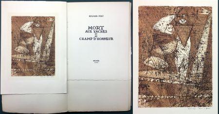 Офорт И Аквитанта Ernst - Benjamin Péret : MORT AUX VACHES ET AU CHAMP D'HONNEUR. 1/50 avec l'eau-forte signée de Max Ernst.