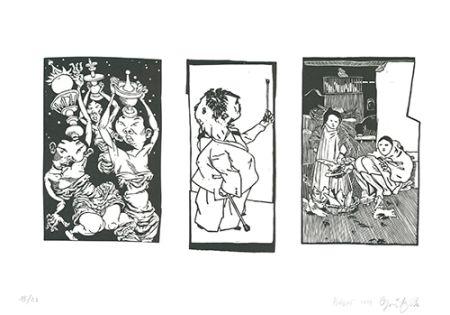 Линогравюра Grützke - Bilder aus Bongs Stall