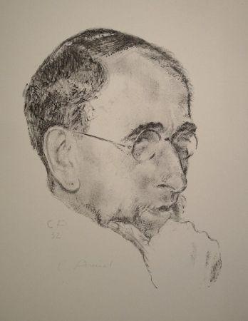Литография Amiet - Bildnis Ernst Kreidolf in Dreiviertelansicht
