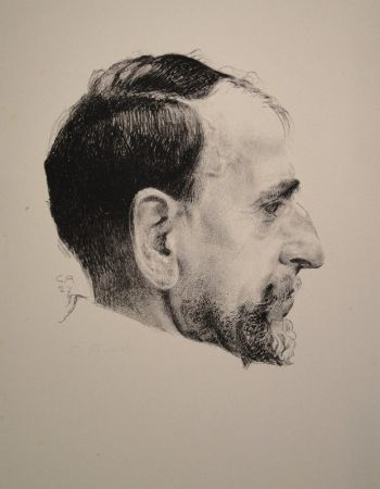 Литография Amiet - Bildnis Erst Kreidolf im Profil
