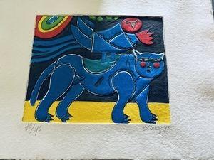 Карборунд Corneille - Blauer Vogel mit Katze