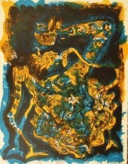 Литография Nieto - Blaugelbe Giraffe