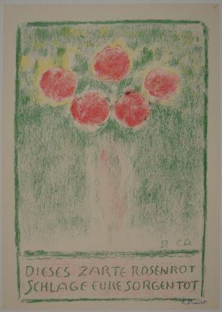 Литография Amiet - Blumenvase mit Rosen