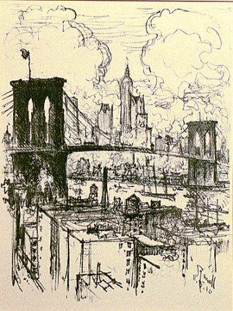 Литография Pennell - Brooklyn Bridge