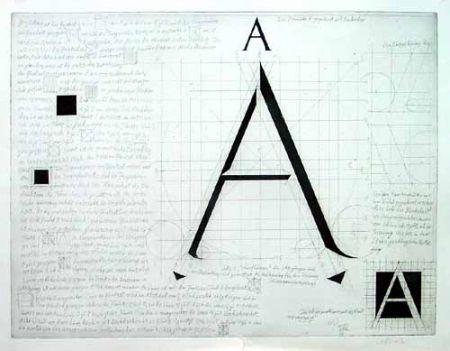 Гравюра Bunz - Buchstabe A / The Letter A
