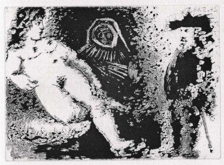 Акватинта Picasso - Célestine, Fille et vieux client