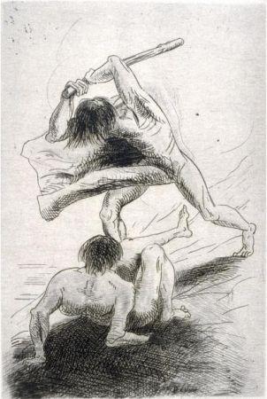 Гравюра Redon - Caïn et Abel