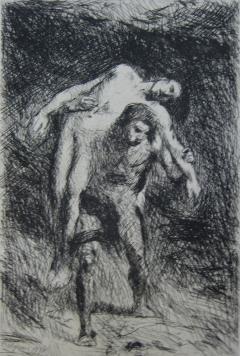 Гравюра Falguière - Caïn et Abel