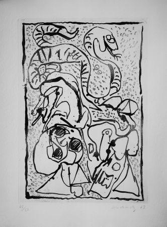 Офорт Alechinsky - Ca serpente