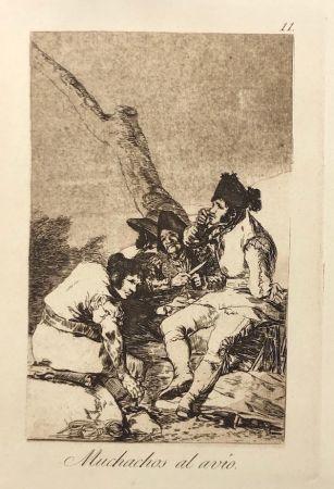 Офорт Goya - Capricho 11. Muchachos al avio