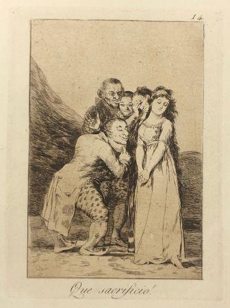 Офорт Goya - Capricho 14. Que sacrificio