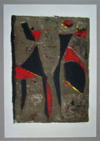 Литография Marini - Cavalier noir et rouge sur fond brun