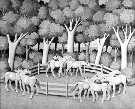 Гравюра На Дереве Morena - Cavalli nel bosco