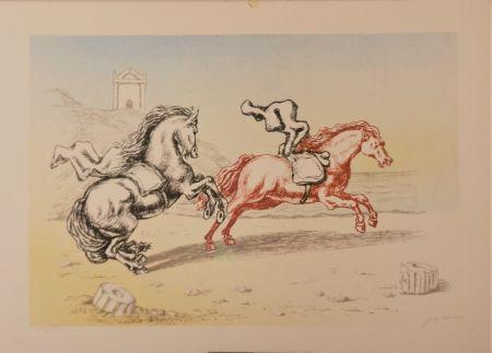 Литография De Chirico - Cavalli sulla riva dell'Egeo