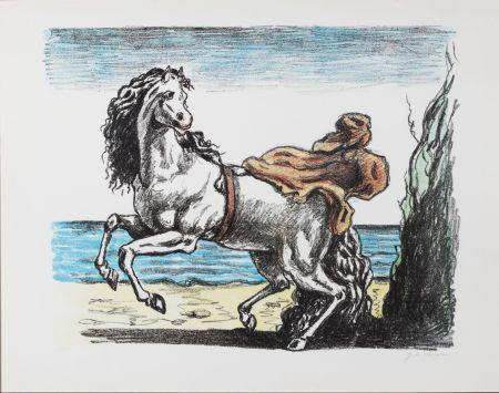 Литография De Chirico - Cavallo con manto