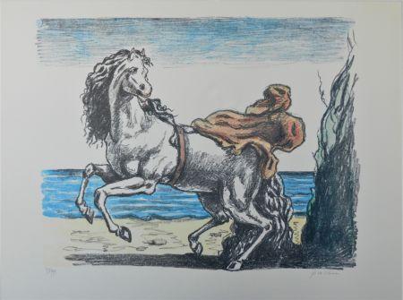 Литография De Chirico - Cavallo con manto (seconda versione)
