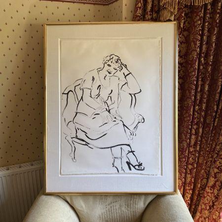 Литография Hockney -  Celia Inquiring