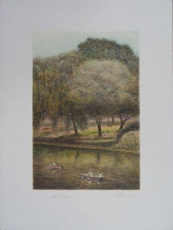 Литография Altman - Central Park - The Lake