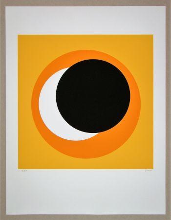 Сериграфия Claisse - Cercle noir sur fond orange